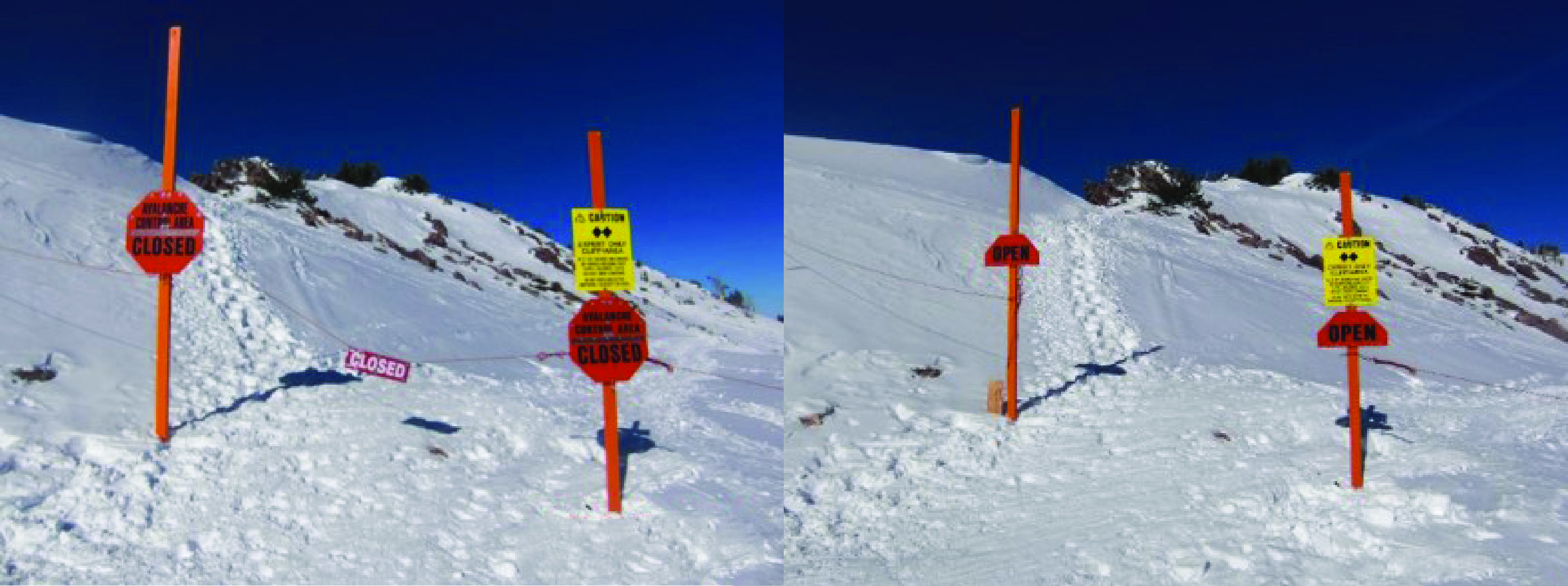 Avalanche Area open and closed gates