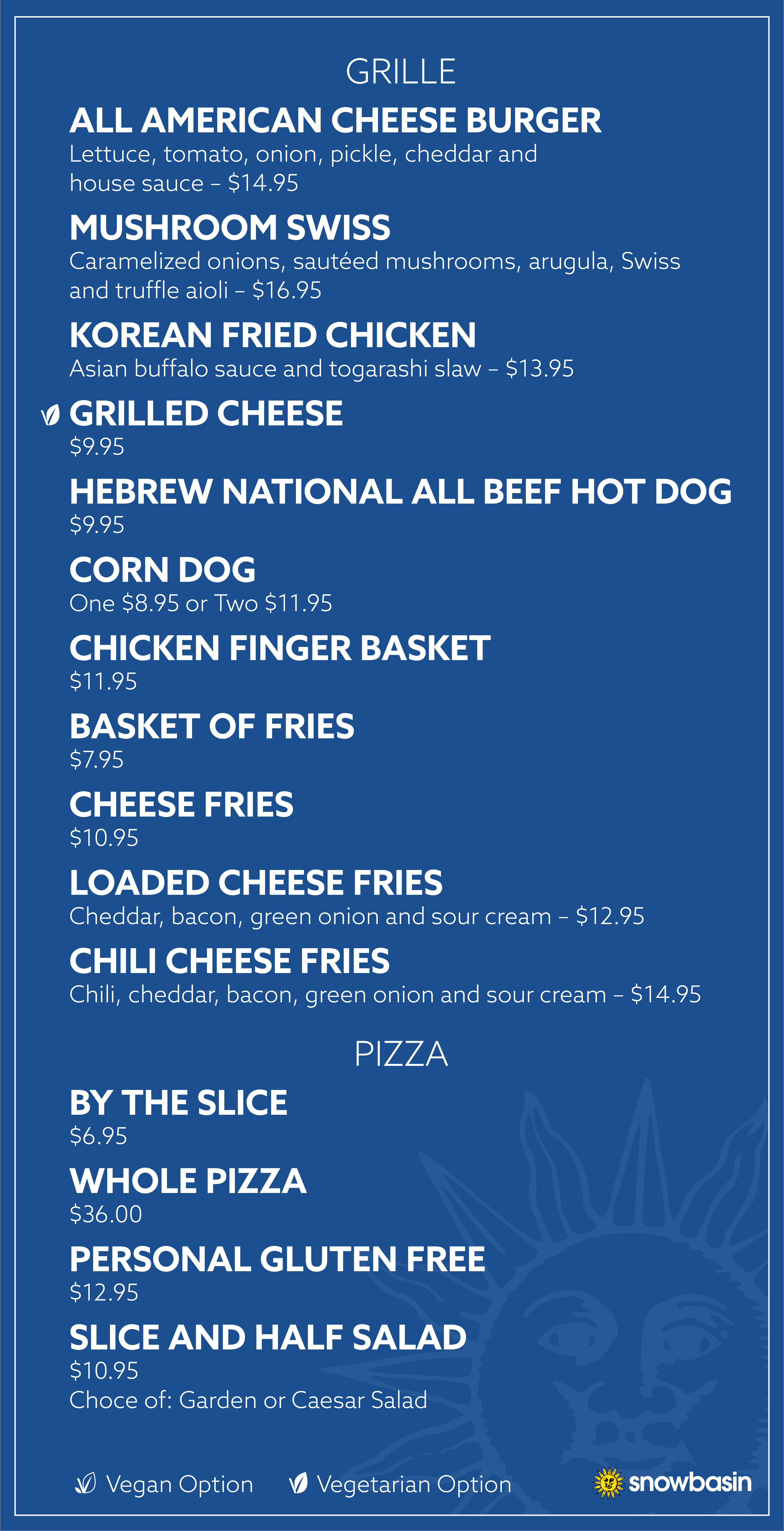 Grille and Pizza Menu